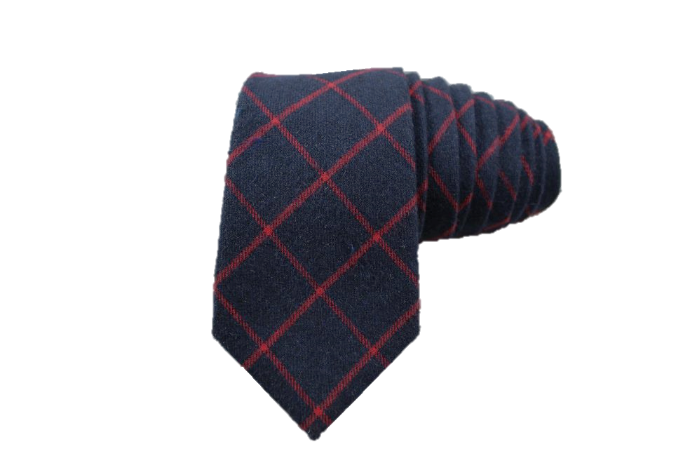 Midnight Blue and Red Tartan Cotton Tie - Knot Tied Down