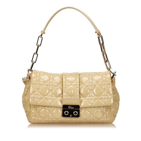 Nude Christian Dior Quilted Cannage Shoulder Bag