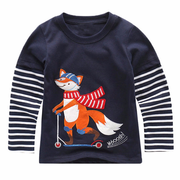 Baby Boy Sweatshirt with Animal Applique 2017 Brand Children Autumn Long Sleeve Tops Boys Clothes Striped Kids T shirts for Boy
