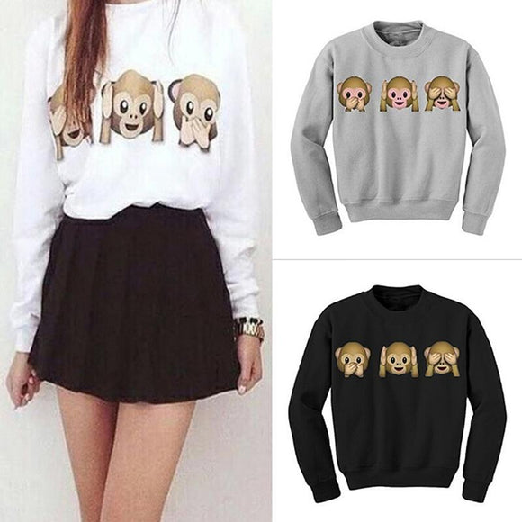 2017 Autumn Girl Women Cute College Wind Hoodies O-neck Pullovers Warm Winter Cartoon 3 Monkeys Sweatshirts Casual Printed  New