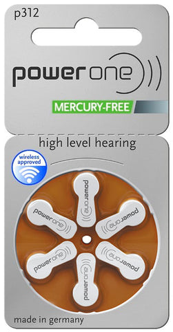 Power One Hearing Aid Batteries - Size 312 (p312) - 60 Batteries