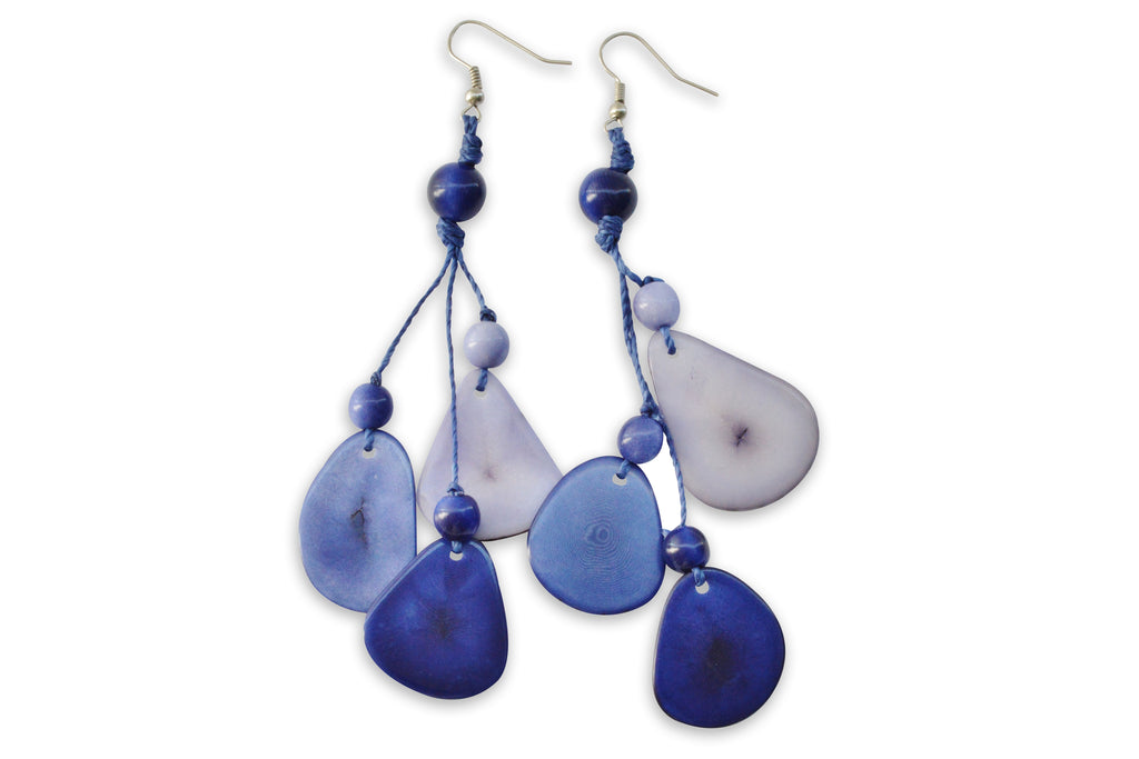Blue Tagua Nut Earrings, Earrings, Hola Hola® - Hola Hola™