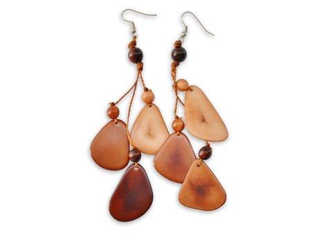 Brown Tagua Nut Earrings, Earrings, Hola Hola® - Hola Hola™