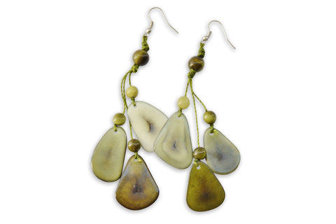 Green Tagua Nut Earrings
