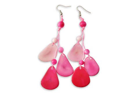 Pink Tagua Nut Earrings