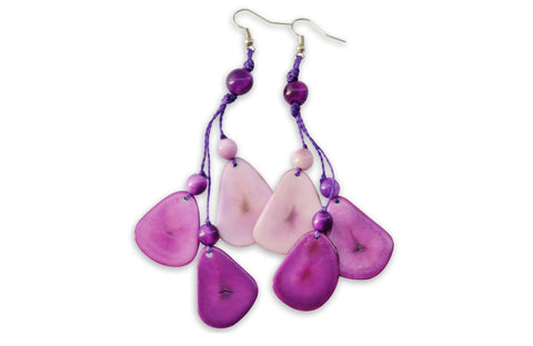 Purple Tagua Nut Earrings