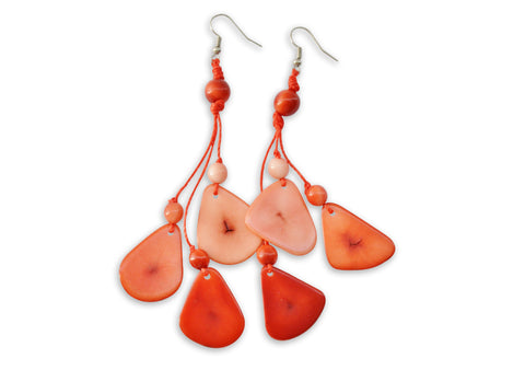 Red Tagua Nut Earrings
