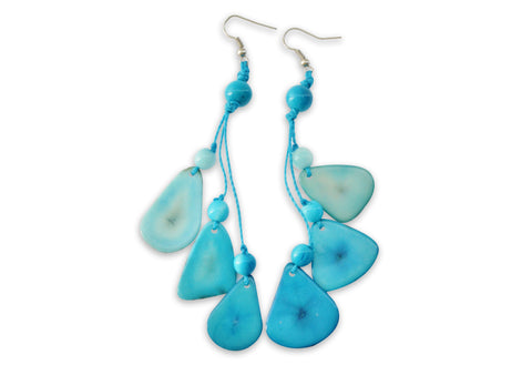 Sky Blue Tagua Nut Earrings