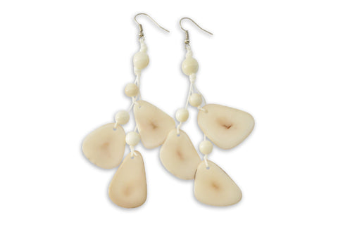 White Tagua Nut Earrings, Earrings, Hola Hola® - Hola Hola™