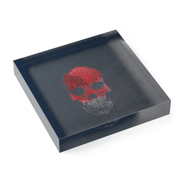 OK Skull Red No. 3 — Acrylic Block