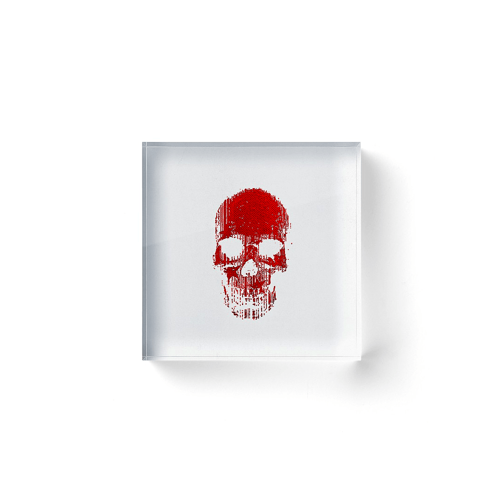 OK Skull Red No. 1 — Acrylic Block