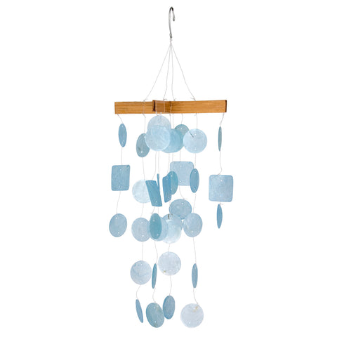 Mini Capiz Wind Chime, Blue