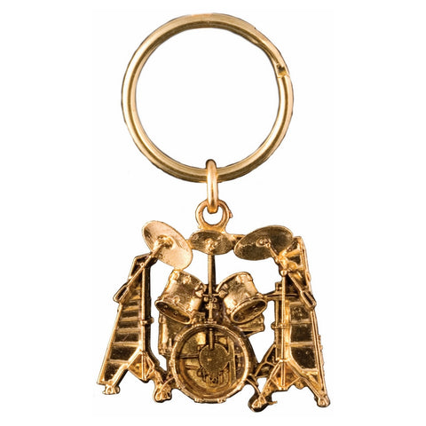 Drum Set Keychain, Gold