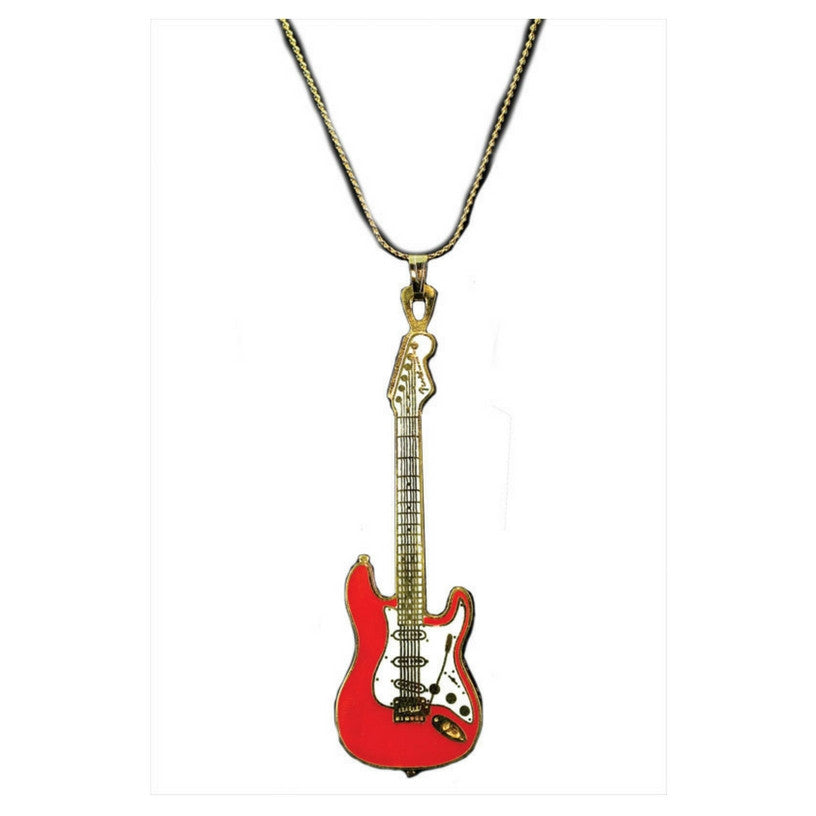 Electric Guitar Necklace, Red Fender Stratocaster