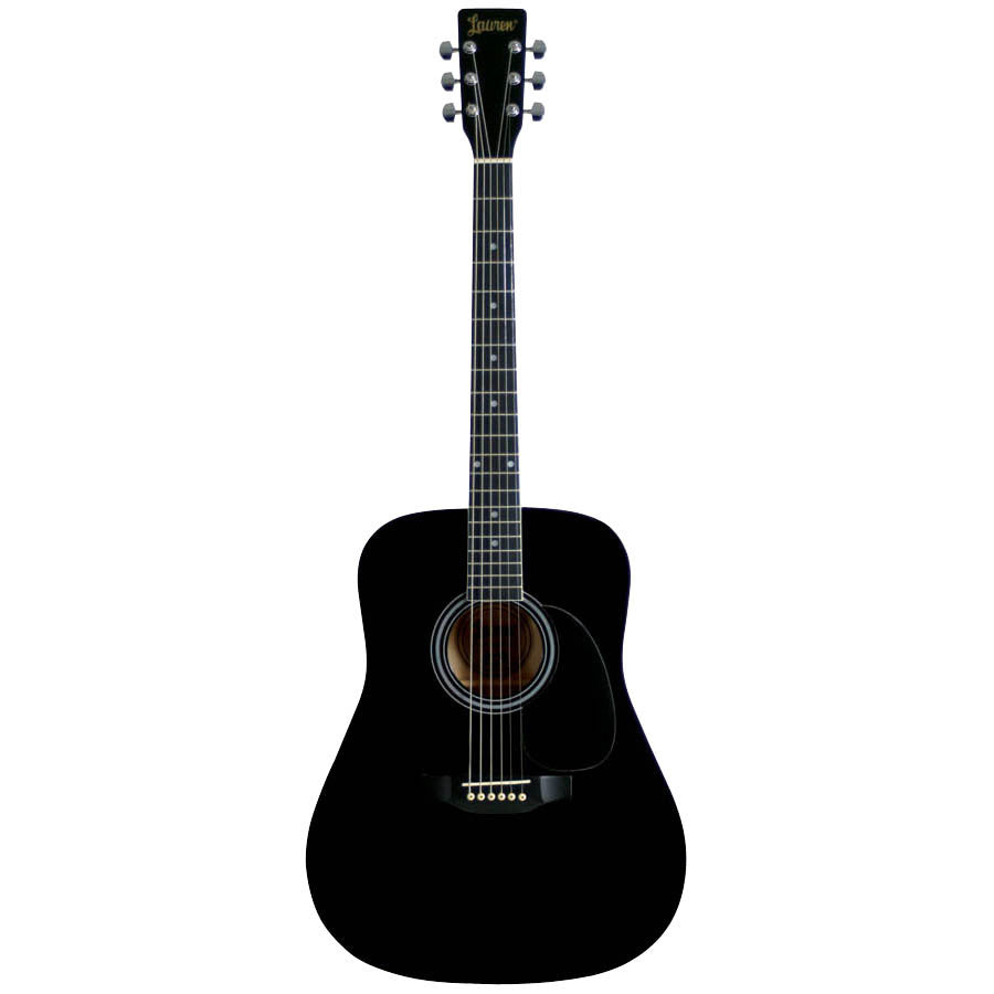Lauren LA125BK Satin-Finish Acoustic Guitar, Black