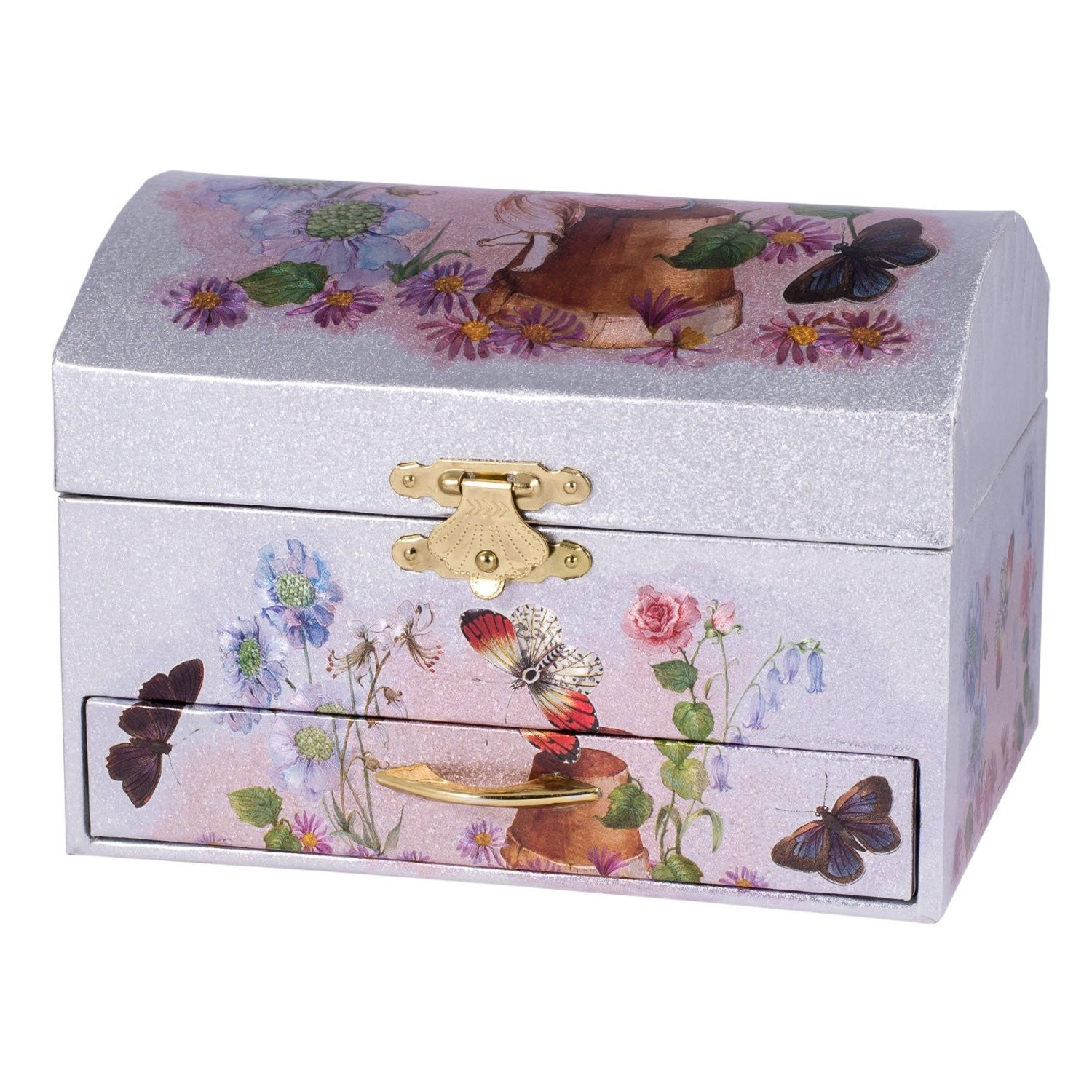 Princess Fairy Musical Jewelry Box, Silver & Pink