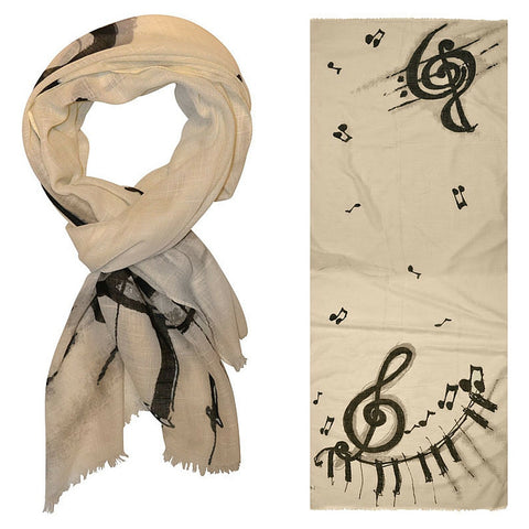 Designer Scarf with G-Clefs and Piano Keys, Taupe
