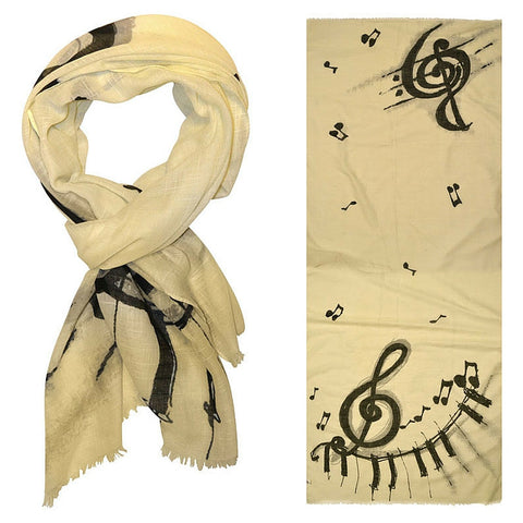 Designer Scarf with G-Clefs and Piano Keys, Eggshell