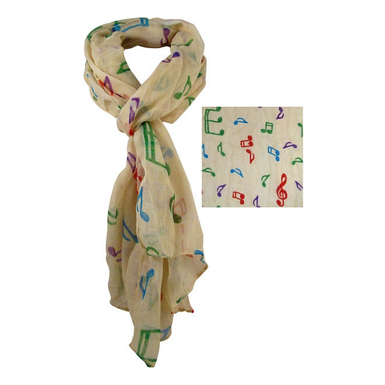 Scarf with Colorful Notes, Cream