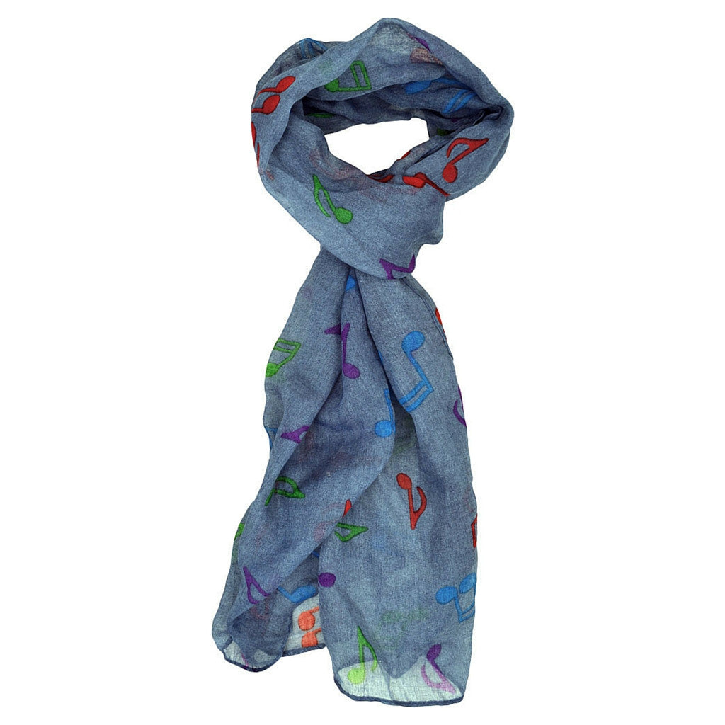 Scarf with Colorful Notes, Denim Blue