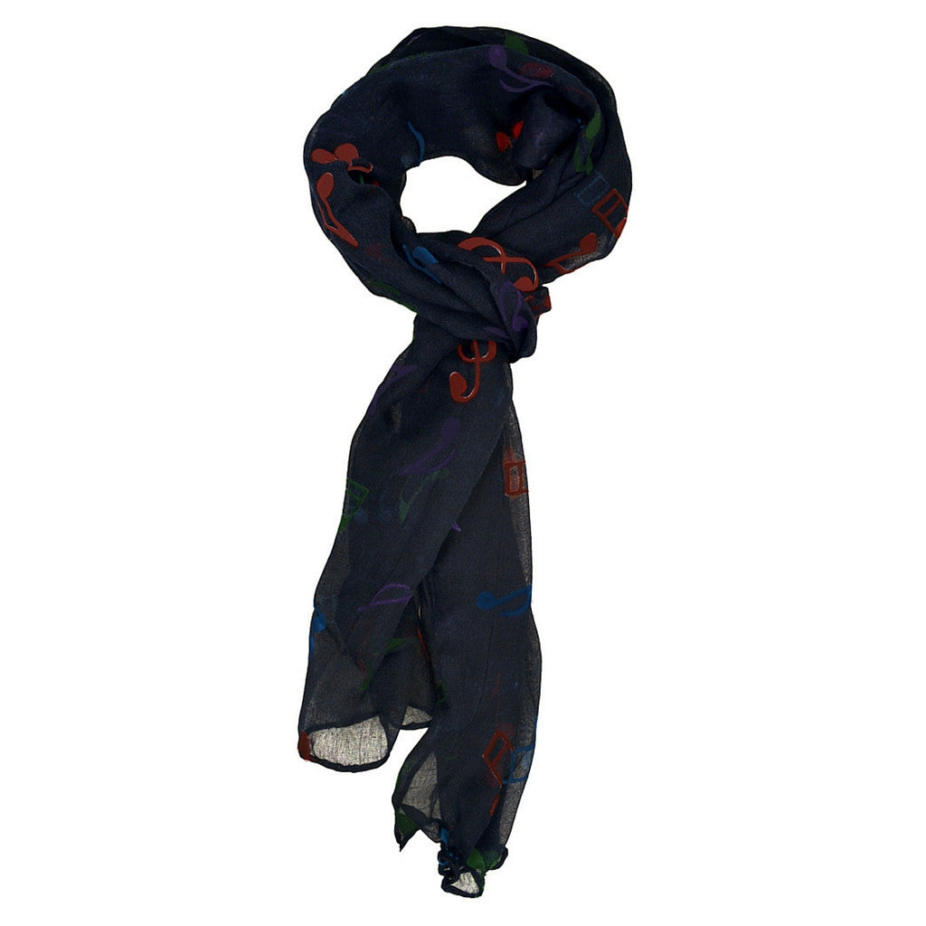 Scarf with Colorful Notes, Navy Blue