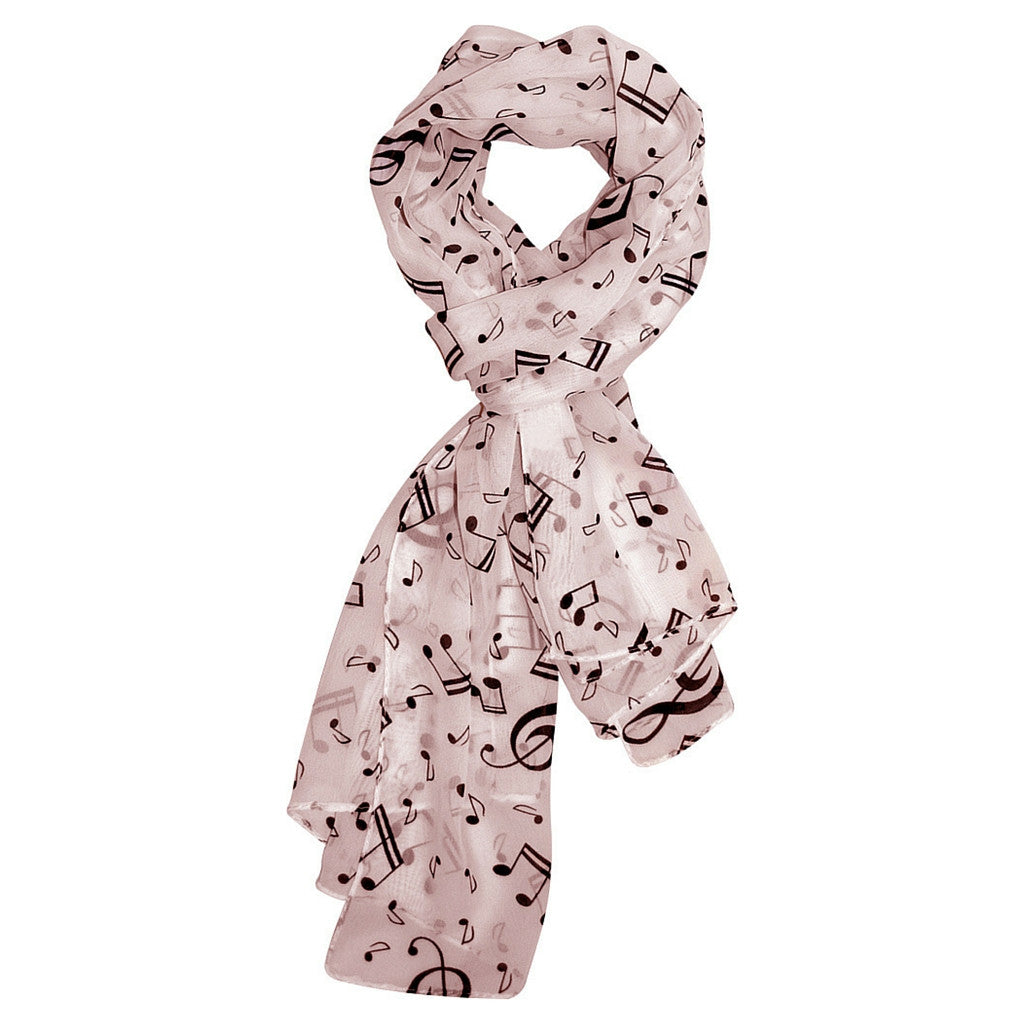 Scarf with Music Notes, Blush Pink
