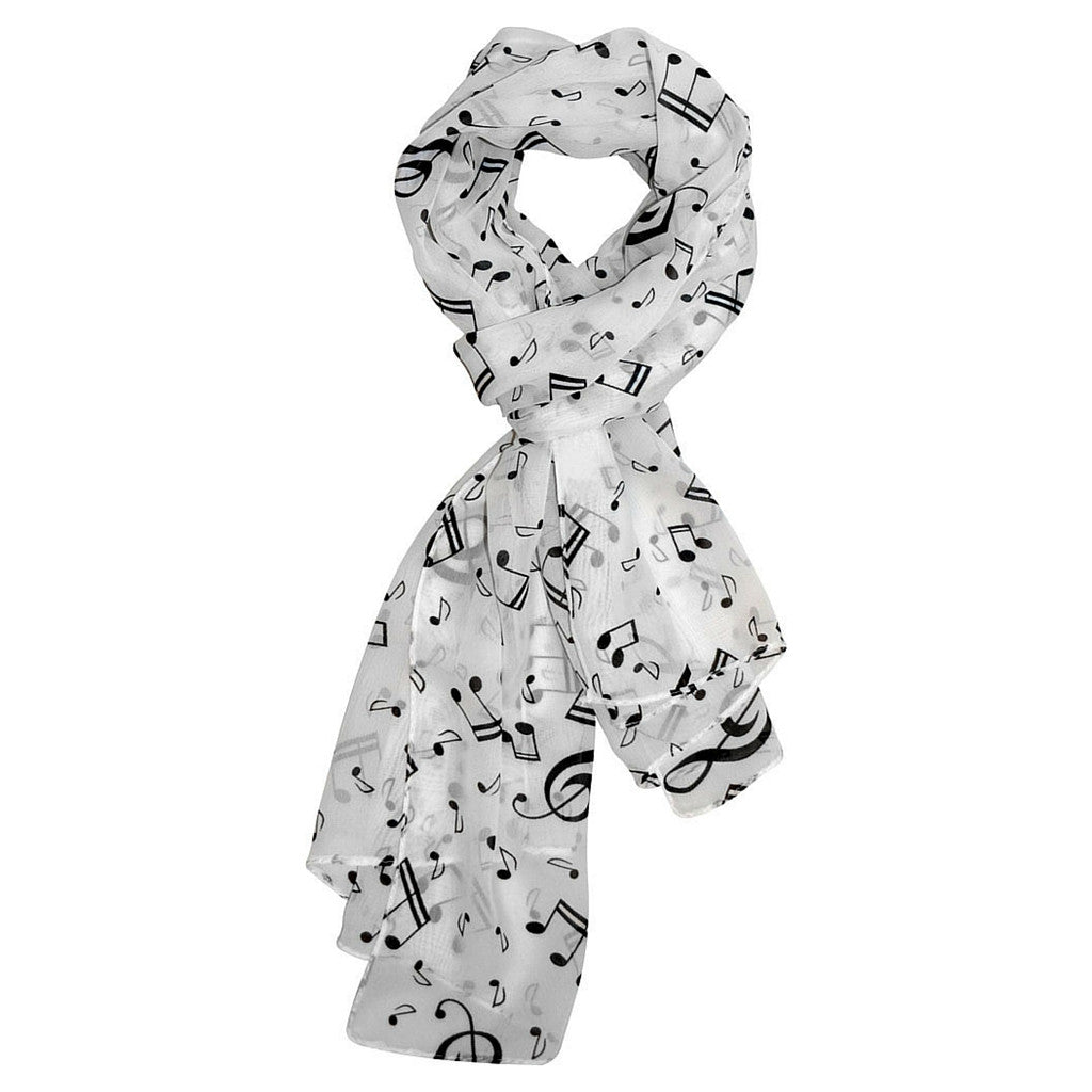 Scarf with Music Notes, White