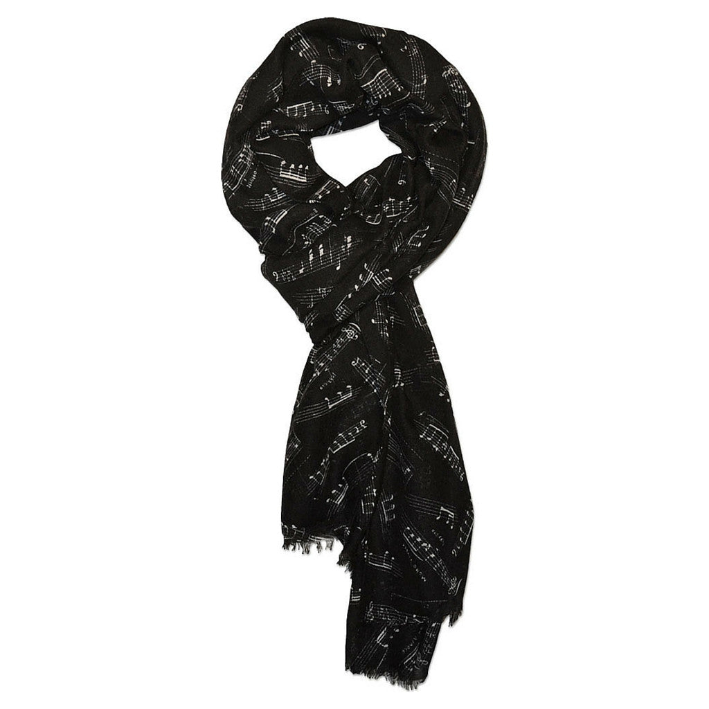 Scarf with Music Staff, Black