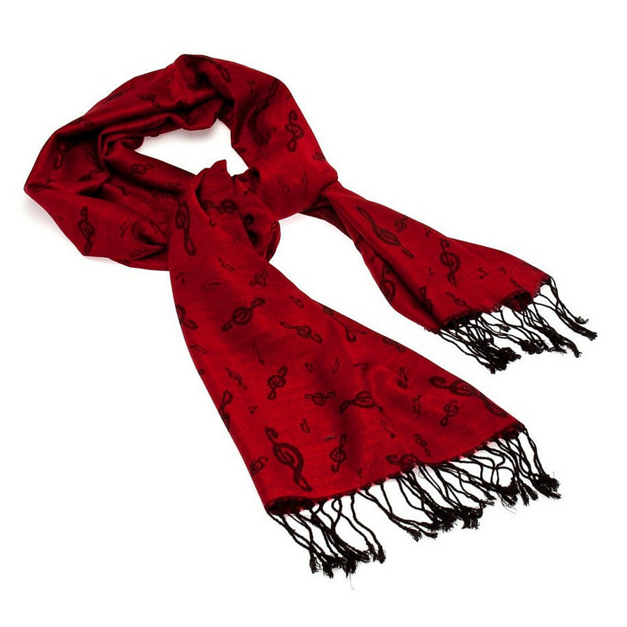 Treble Clef Pashmina Scarf, Red