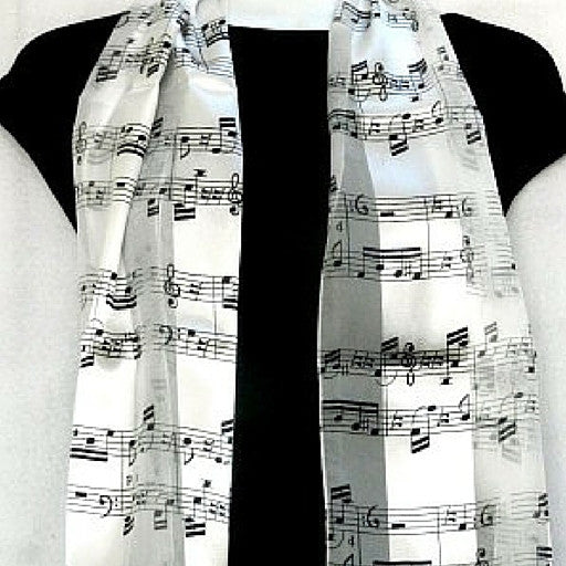 Sheet Music Scarf, White