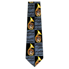 French Horn Tie, Slate Blue