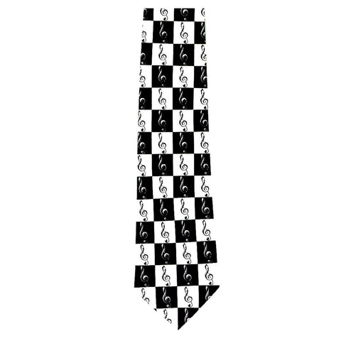 Black and White G-Clef Matrix Tie