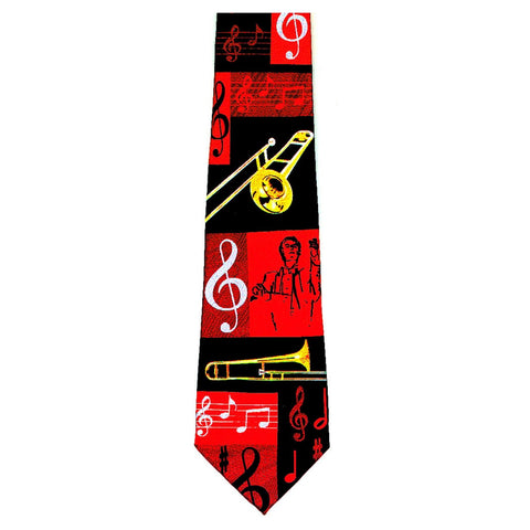 Trombone Collage Tie, Red