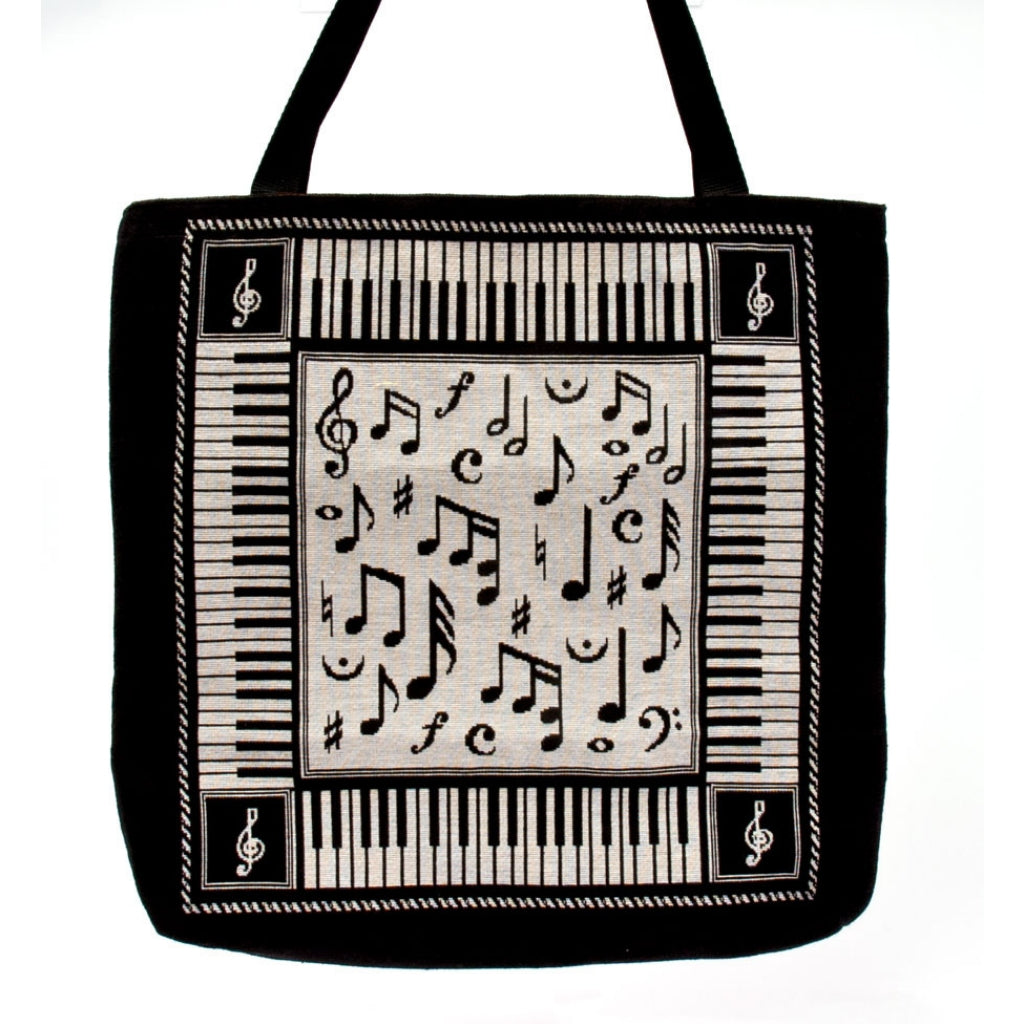 Tote Bag, Woven Music Notes Tapestry