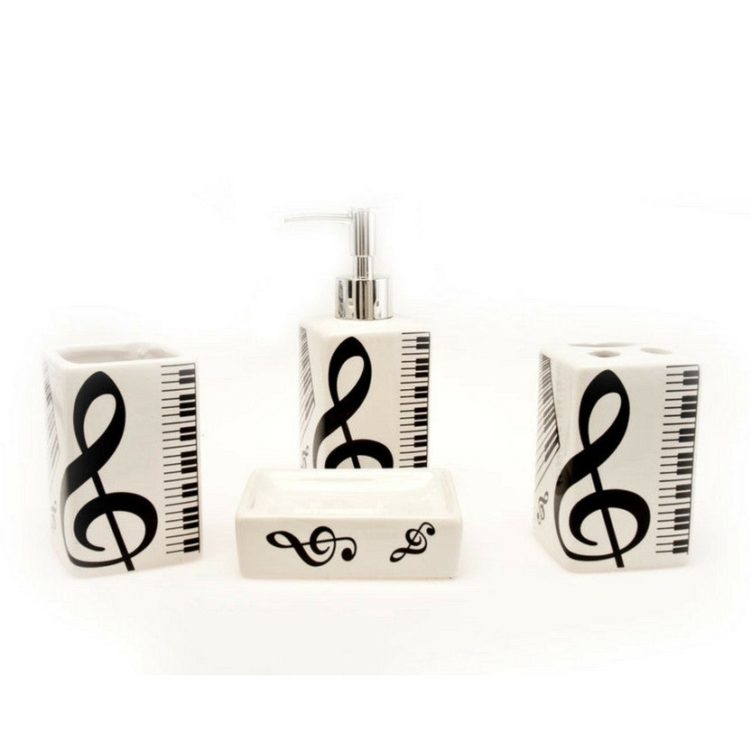 Ceramic Bathroom Set, Treble Clef and Piano Keyboard