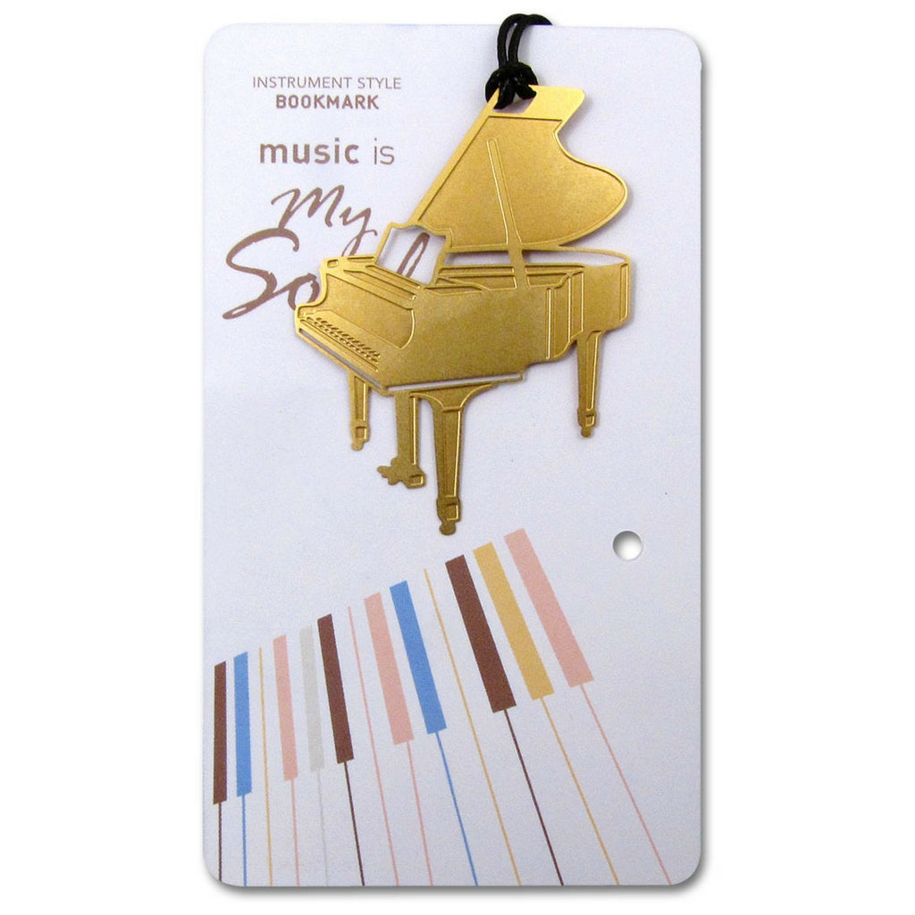 Metallic Gold Bookmark, Grand Piano