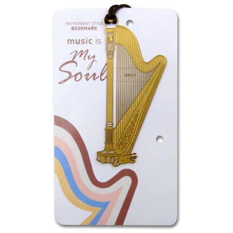 Metallic Gold Bookmark, Harp