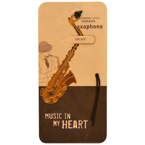 Metallic Gold Bookmark, Saxophone