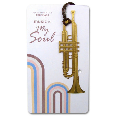 Metallic Gold Bookmark, Trumpet