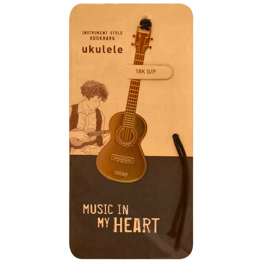 Metallic Gold Bookmark, Ukulele