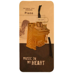 Metallic Gold Bookmark, Upright Piano
