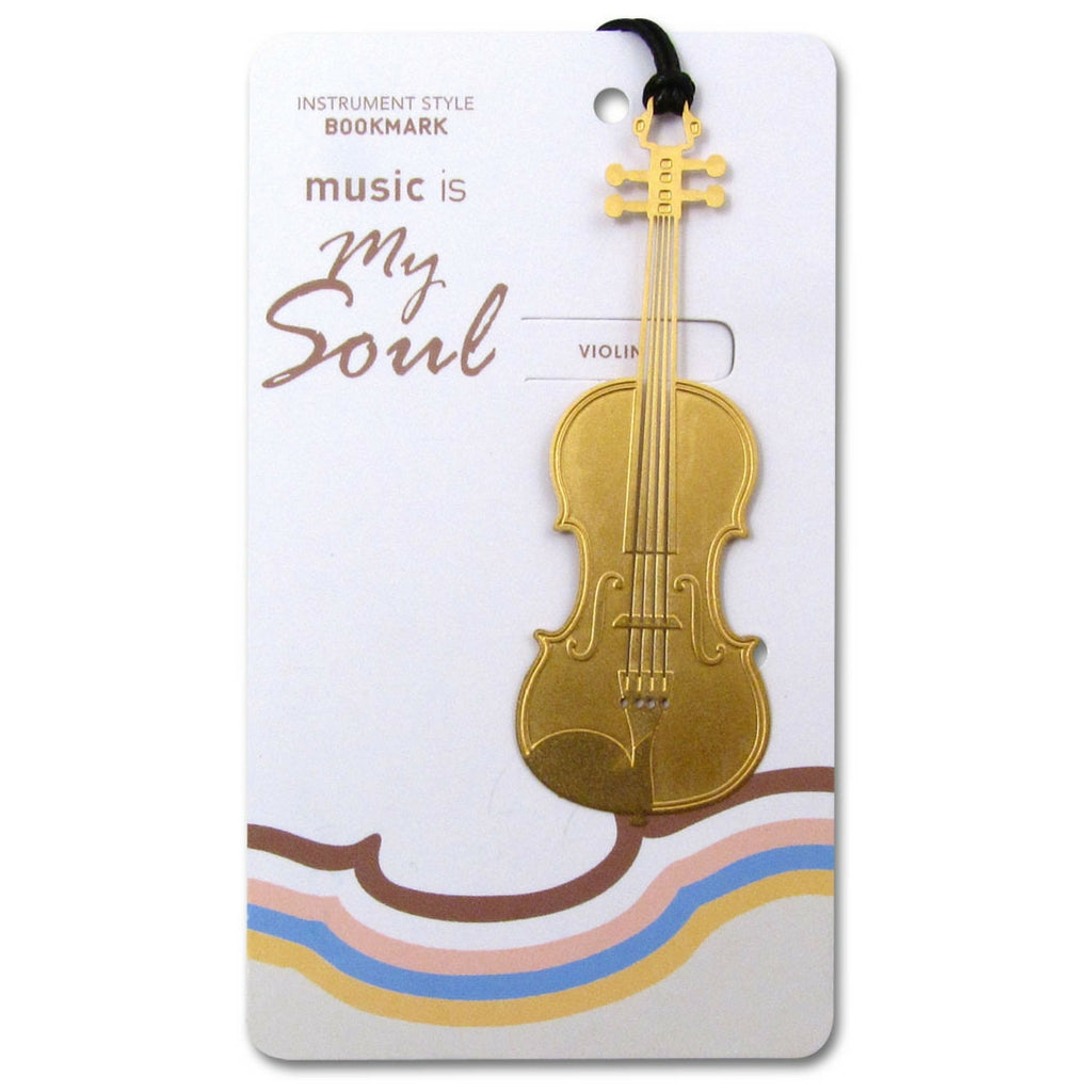 Metallic Gold Bookmark, Violin