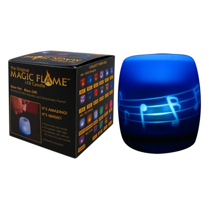 Magic Flame LED Candle, Music Notes, Blue