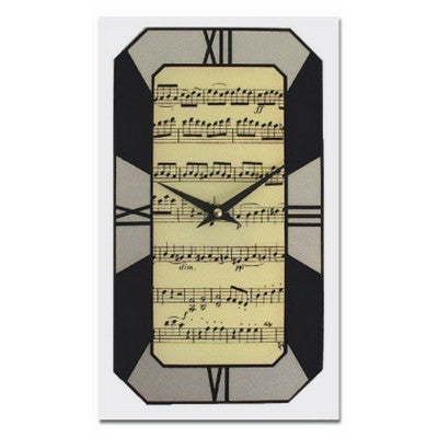 Art Deco Music Wall Clock, Black