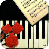 Vinyl Keyboard Coaster with Rose