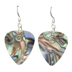 Guitar Pick Earrings, Abalone Shell