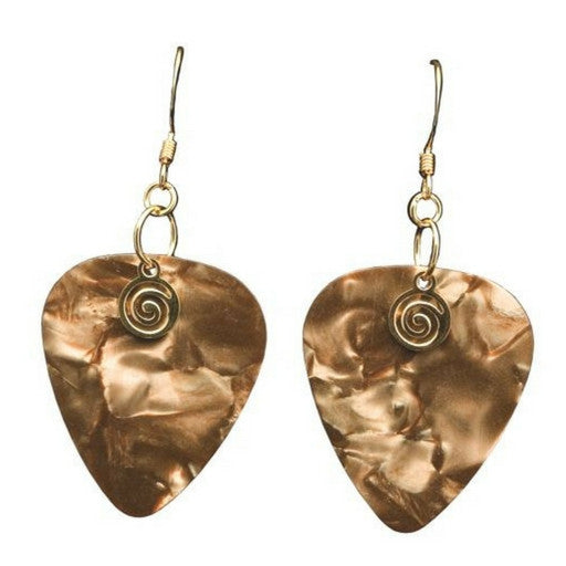 Guitar Pick Earrings, Golden Brown