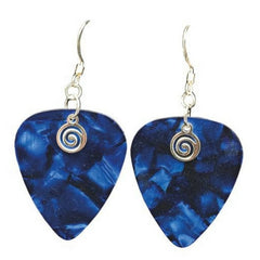 Guitar Pick Earrings, Sapphire Blue