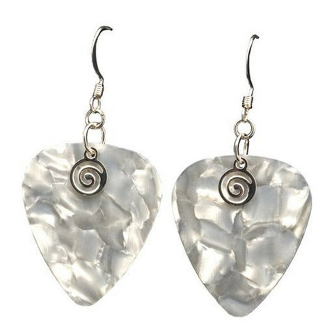 Guitar Pick Earrings, Pearl White