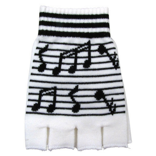 Knit Fingerless Winter Gloves, White